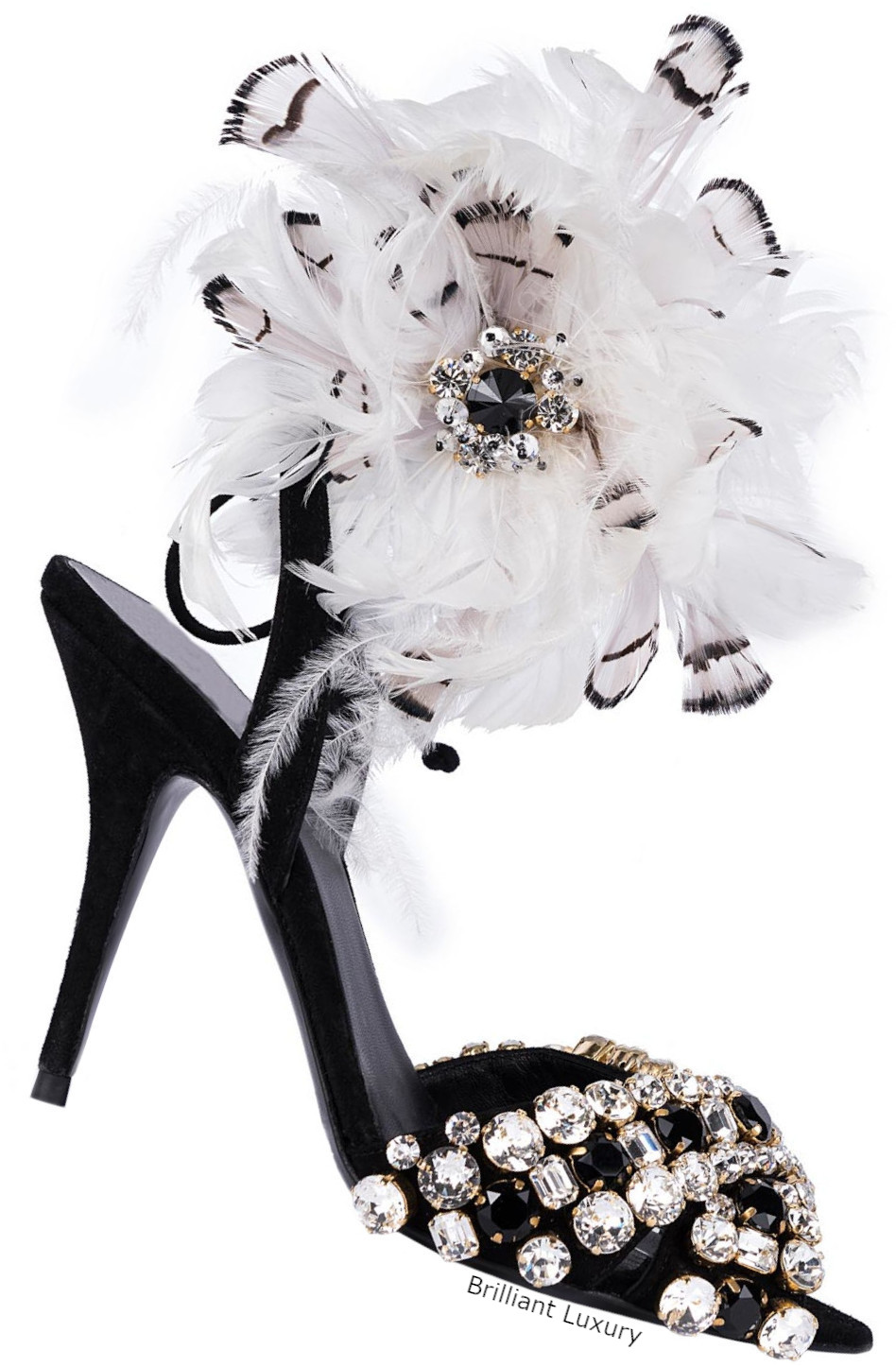 Gedebe feathered sandals in black and white