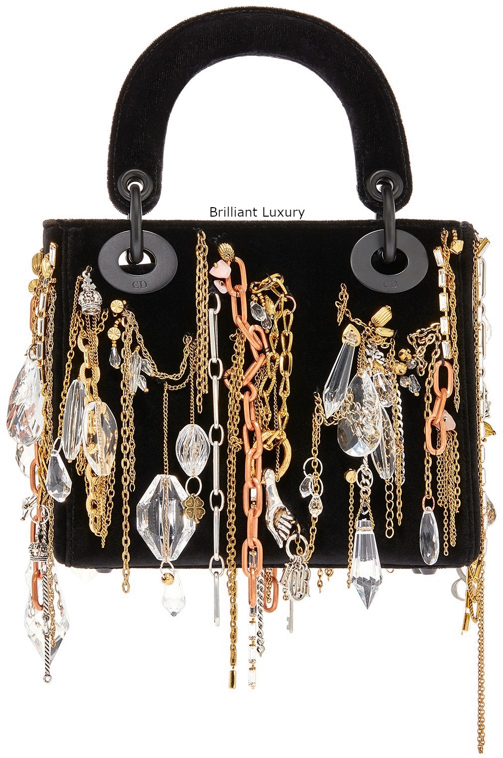 Lady Dior Art Bag in black velvet embroidered with chains-jewellery in ultra black finish metal Designer Isabelle Cornaro