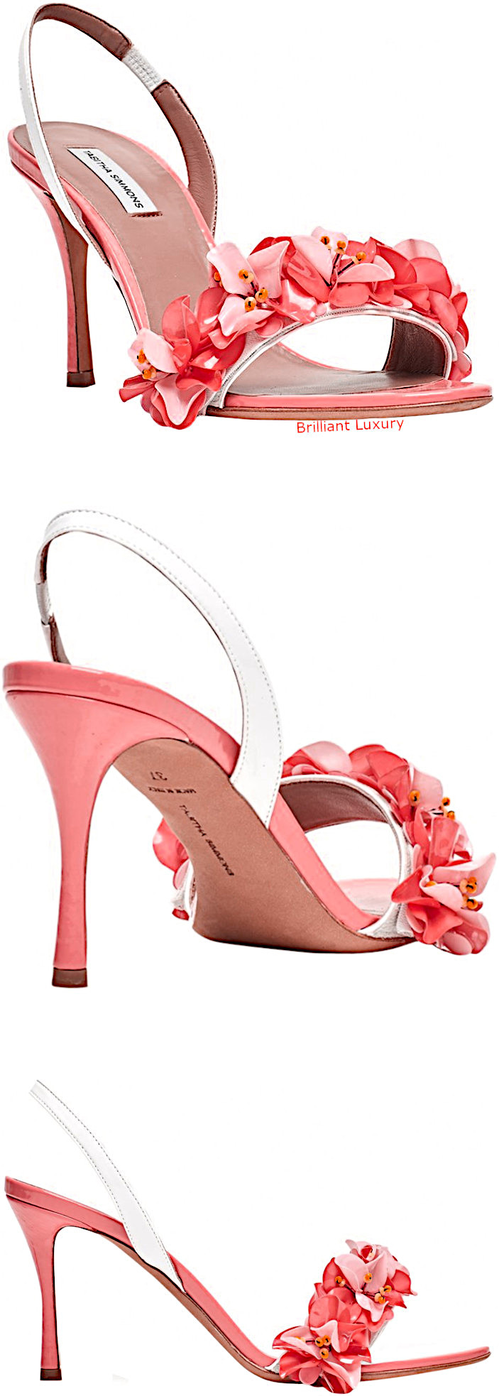Tabitha Simmons floral sandals in coral