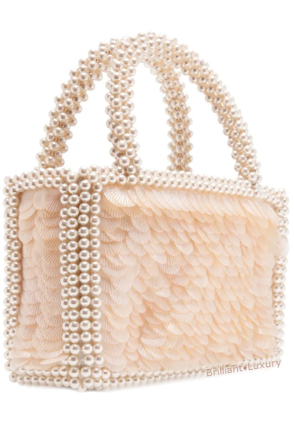 Shrimps Pax elegant neutral beaded and sequined top handle bag