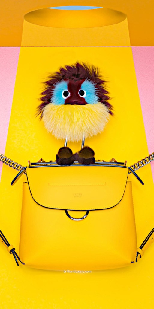 Pantone Color Saffron Fendi Bag in Yellow with new Bag Bug Charm