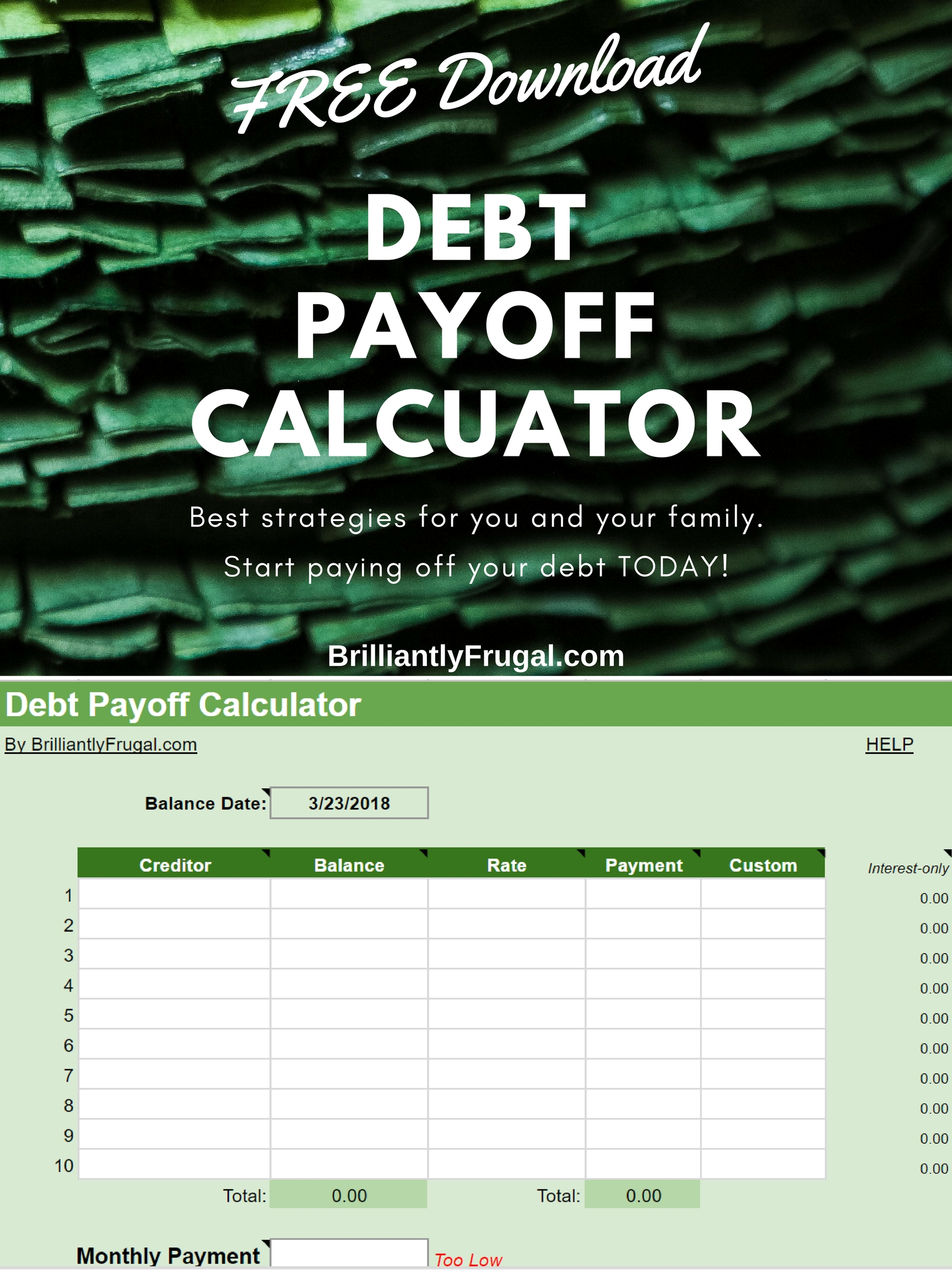 brilliantly frugal debt payoff calculator free download