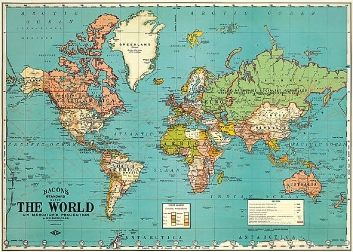 37 Eye Catching World Map Posters You Should Hang On Your Walls     Bacon s Standard Map Of The World