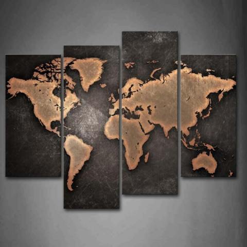 37 Eye Catching World Map Posters You Should Hang On Your Walls     World Map Black Background Wall Art
