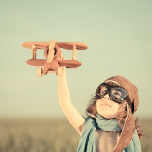 Young child with airplane