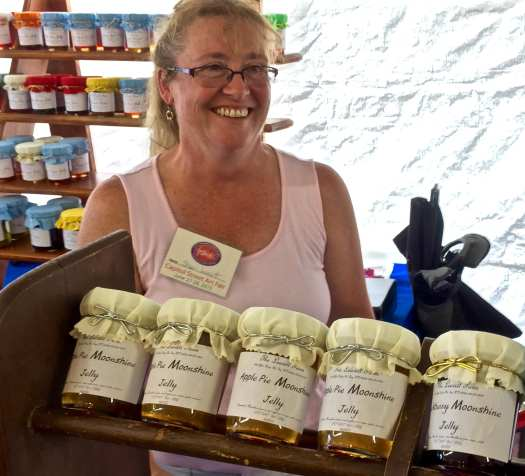 Shari Leavitt with her latest creation: Moonshine Jelly