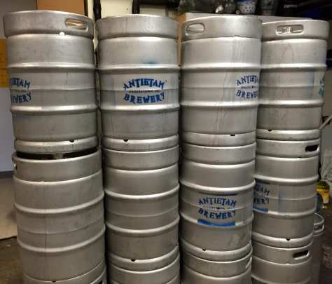 Kegs of Antietam Brewery beer
