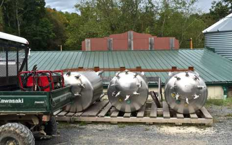 Several stainless steel bright tanks at Heston Farm