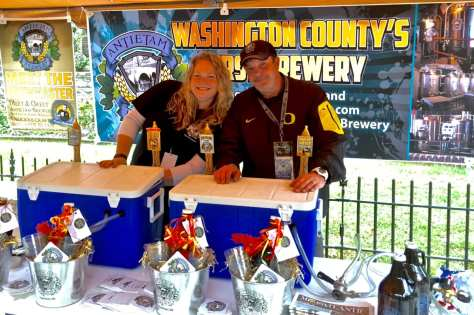 Dan and Chelsea Maerzluft, representing Hagerstown, Maryland's Antietam Brewery, prepare to meet the crowd the 2015 Bramwell Oktoberfest.