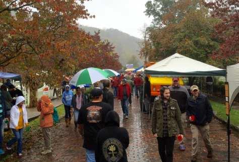 A drizzling rain at the 20th Bramwell Oktoberfest.
