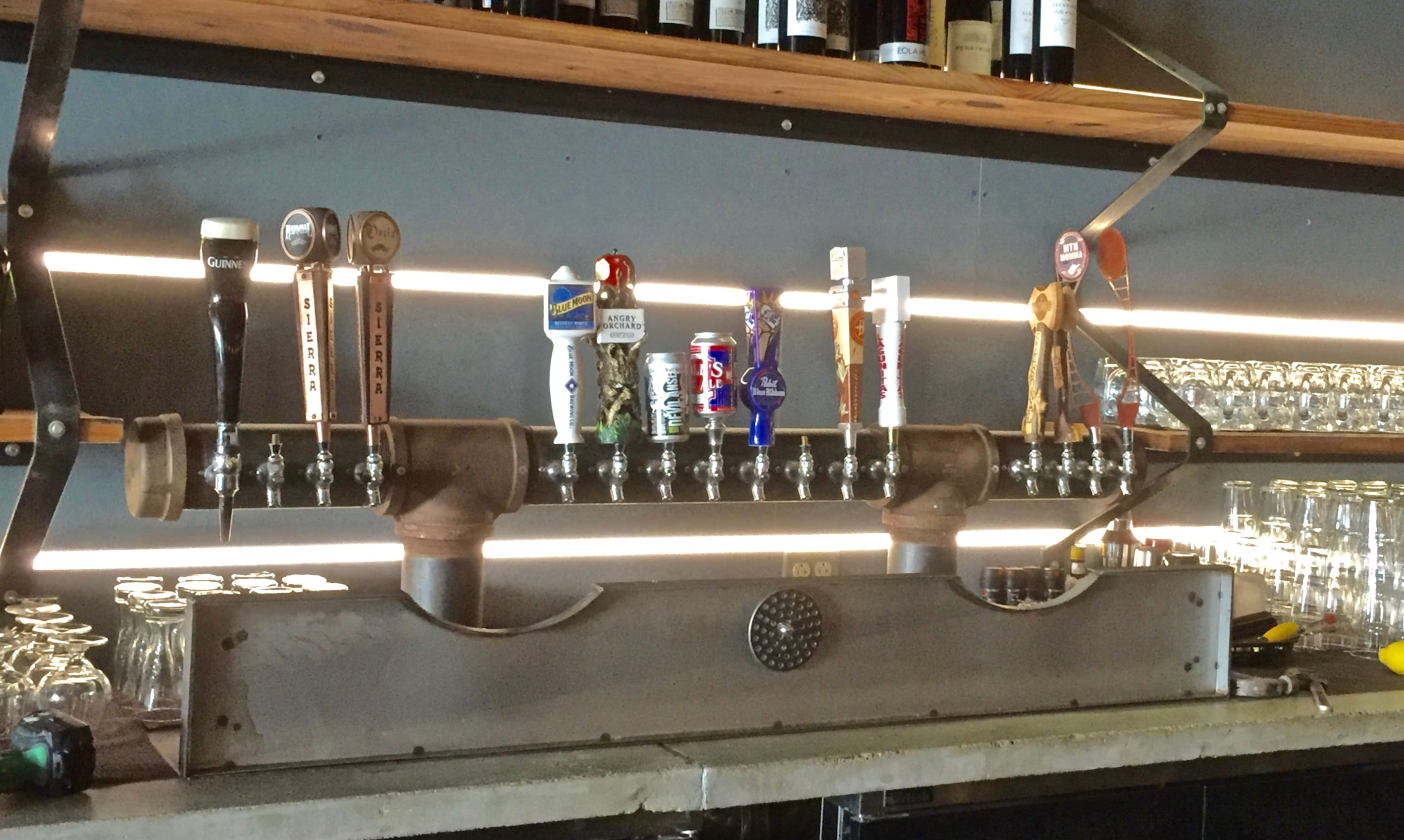 the draft system at backyard pizza and raw bar has 16 taps