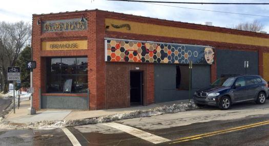 Asheville brewery scene. Bhramari Brewhouse exterior