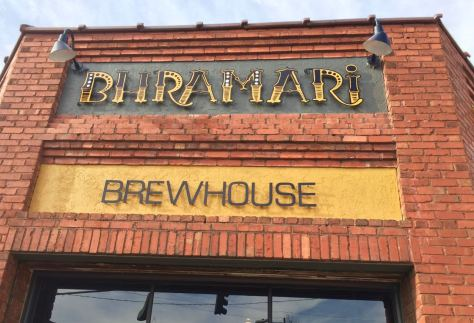 Asheville brewery Bhramari Brewhouse outdoor sign