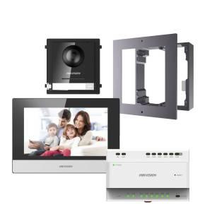 Hikvision 2nd Gen. 2 Wire Intercom Kit, 1-to-1, Door & Room Station, Flush Mount