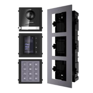 Hikvision 2nd Gen IP Intercom Kit, Door Station, Keypad, Display Module & Flush Mount
