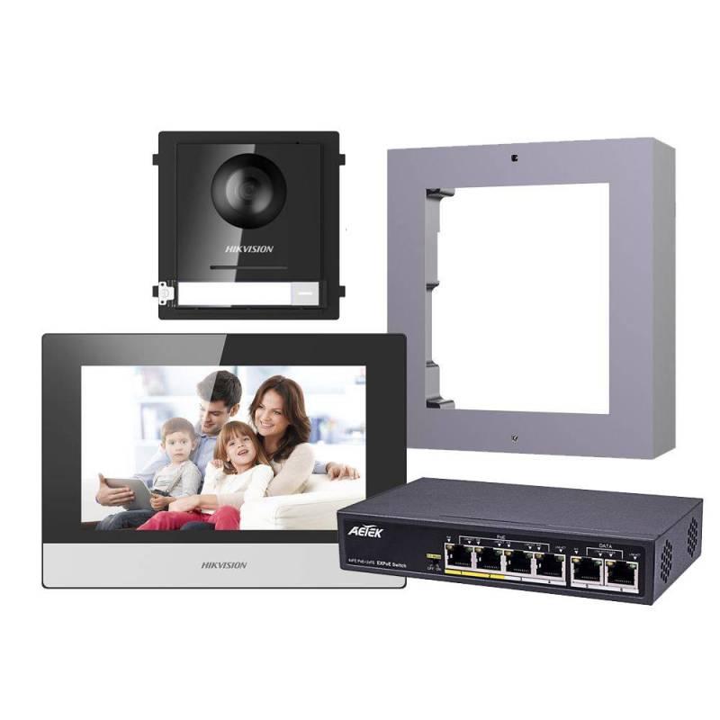 Hikvision 2nd Gen IP Intercom Kit, 1 to 1 Villa, Door & Room Station, Surface, Aetek Switch