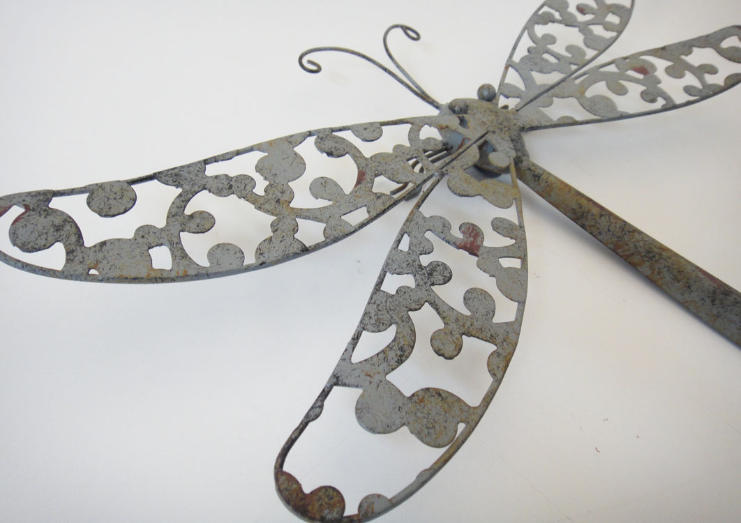New Metal Wall Art Decor - Shabby Chic Rustic Dragonfly