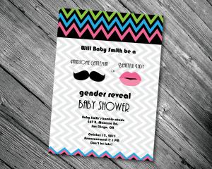 Moustache or Lips Baby Shower Invite