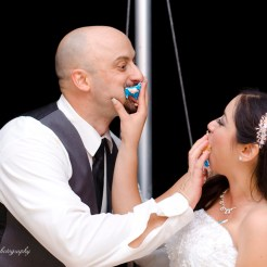 Lopez Moryl Wedding - cake in face