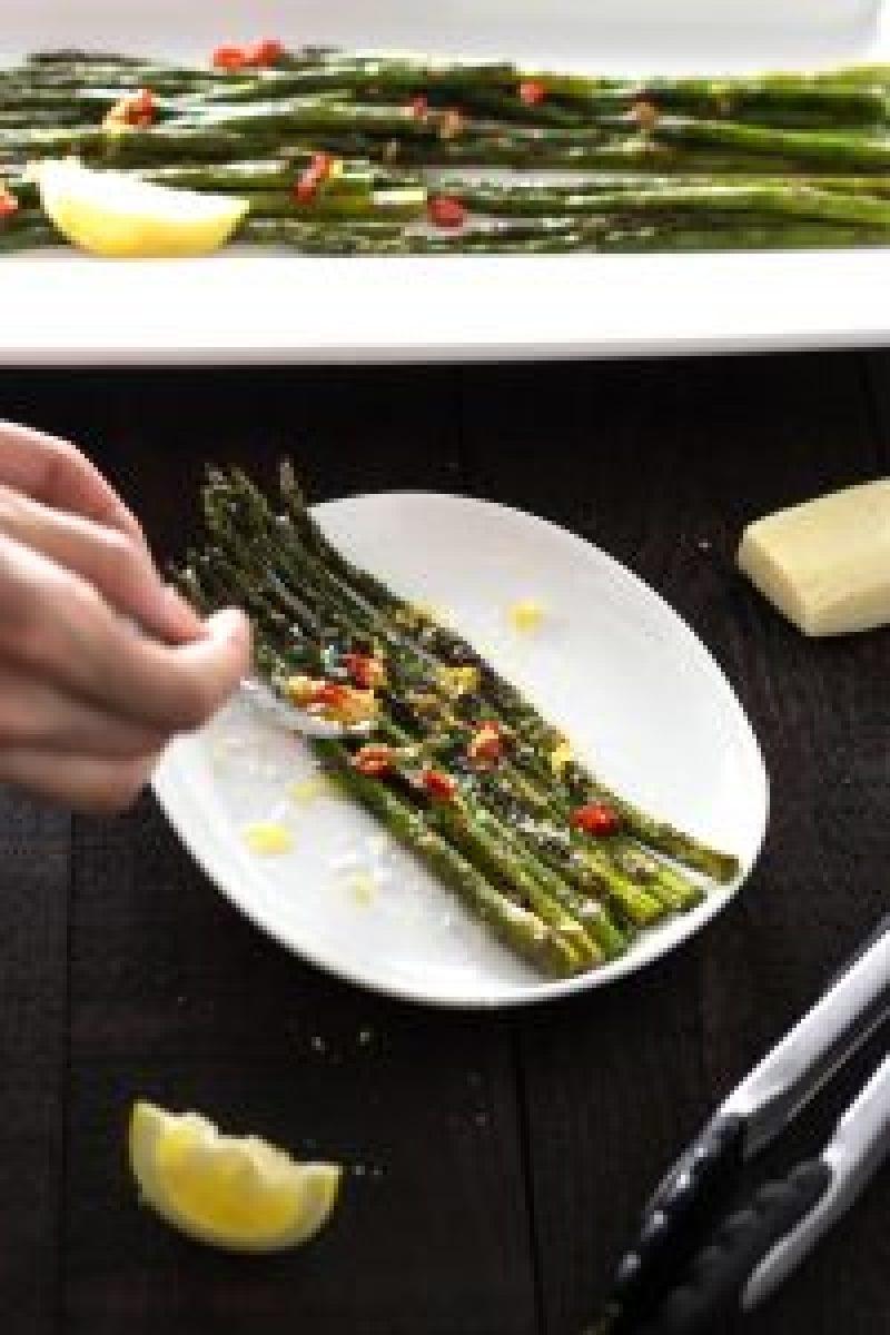 Roasted Asparagus with Lemon-Chili Oil & Pecorino