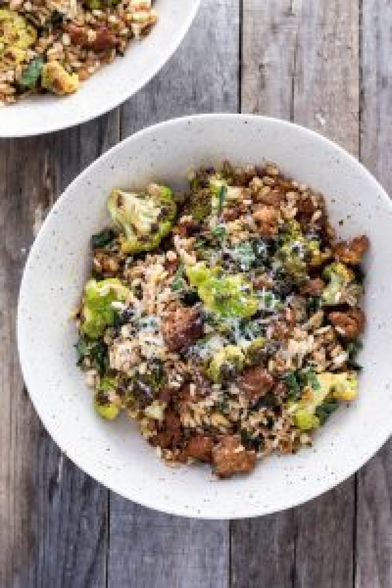 Warm Grain Salad with Sausage & Cauliflower