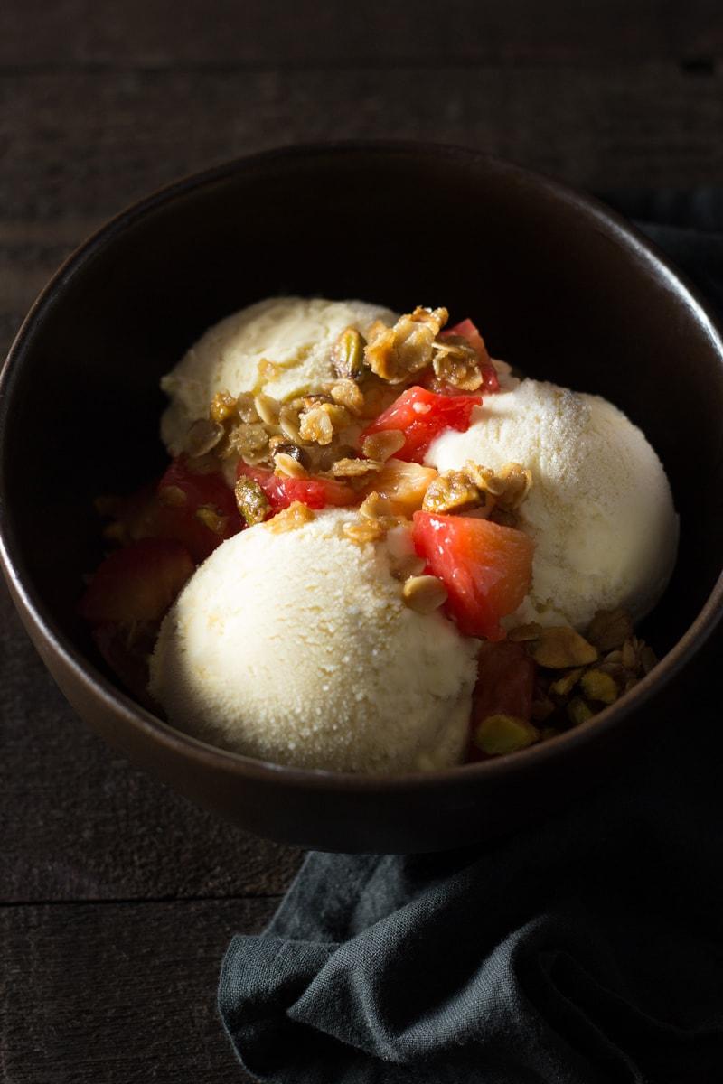 Cardamom Honey Ice Cream with Roasted Plums & Pistachio Granola | Brinasbites.com @Brina's Bites