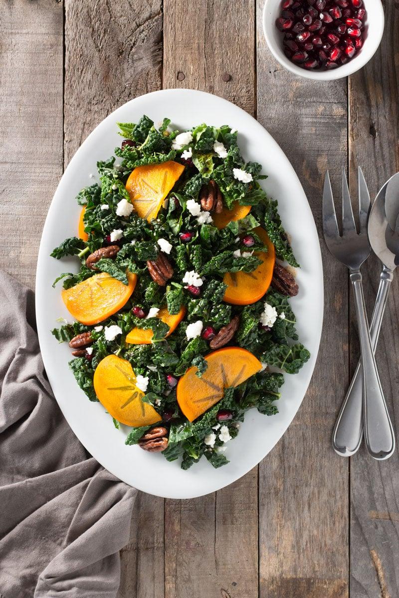 Kale, Persimmon & Pomegranate Salad with Maple-Butter Pecans | Brinasbites.com @Brina's Bites