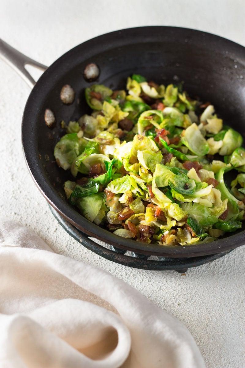 Bacon & Brussels Frittata with Frisee & Radish Salad | Brinasbites.com @Brina's Bites