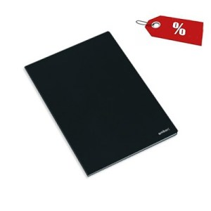 Caderno agrafado capa preta A4 - Emb. c/10