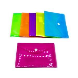 Pack c/12 bolsas A5 em plástico c/botão