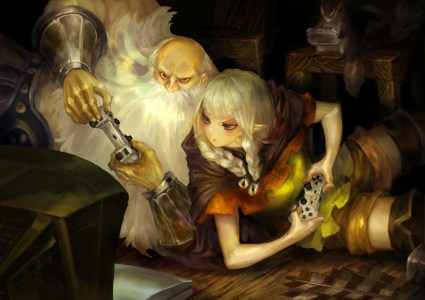 Cute art of the Elf and Dwarf playing together.