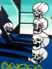 Totem pole of skulls.