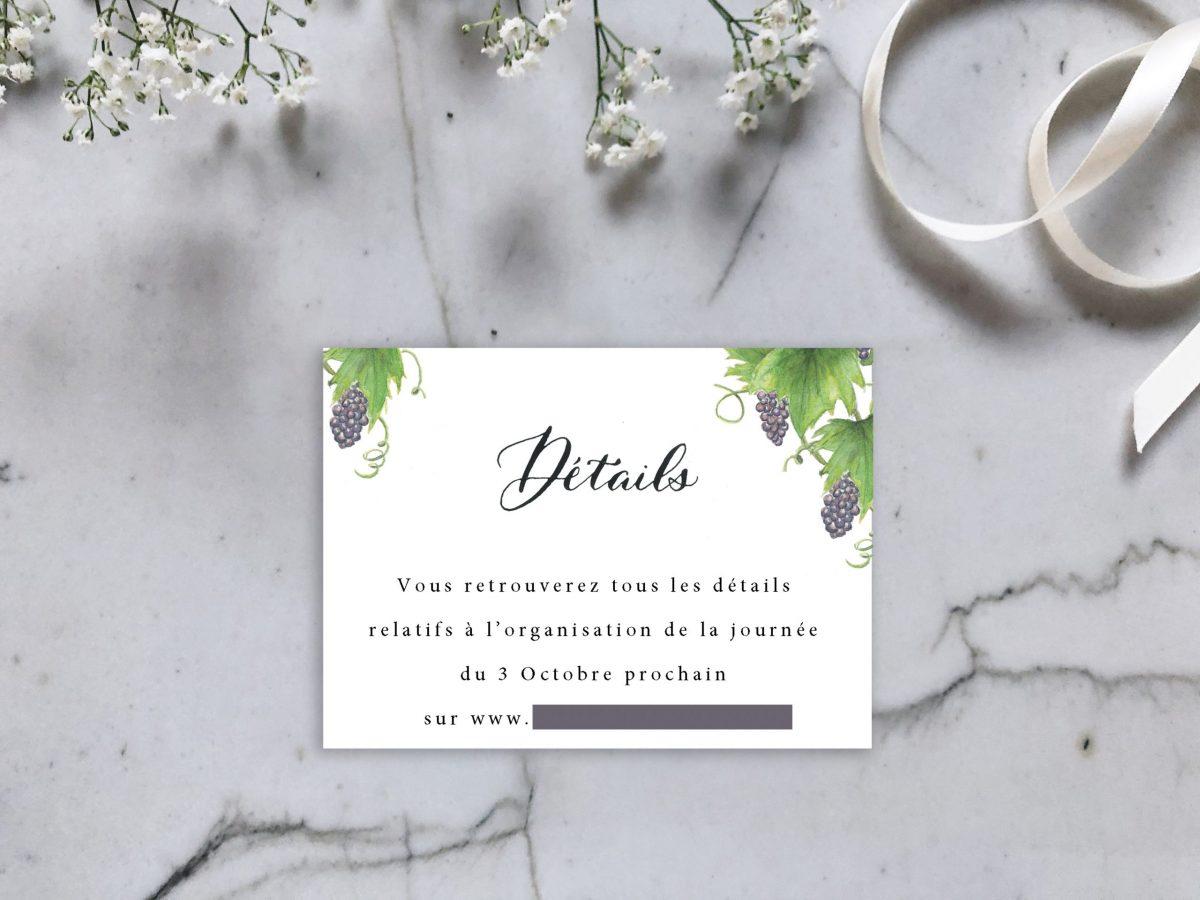 carte reponse ou detail pour invitation mariage aquarelle vigne