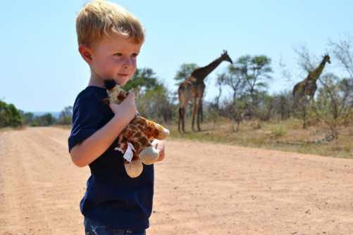 boy with giraffe