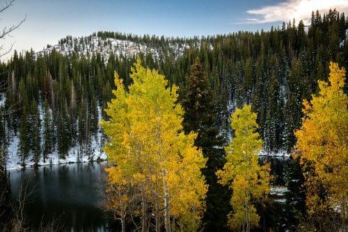 hiking trail high alpine lake fall colors
