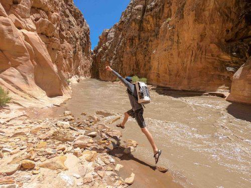 rock jumping muddy creek utah, canyon coolers