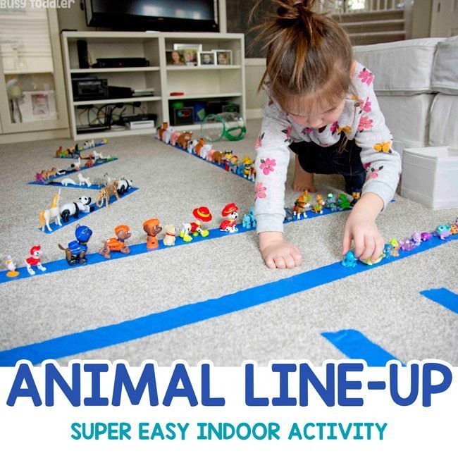 Animal Line-Up: A Quick and Easy Activity from Busy Toddler