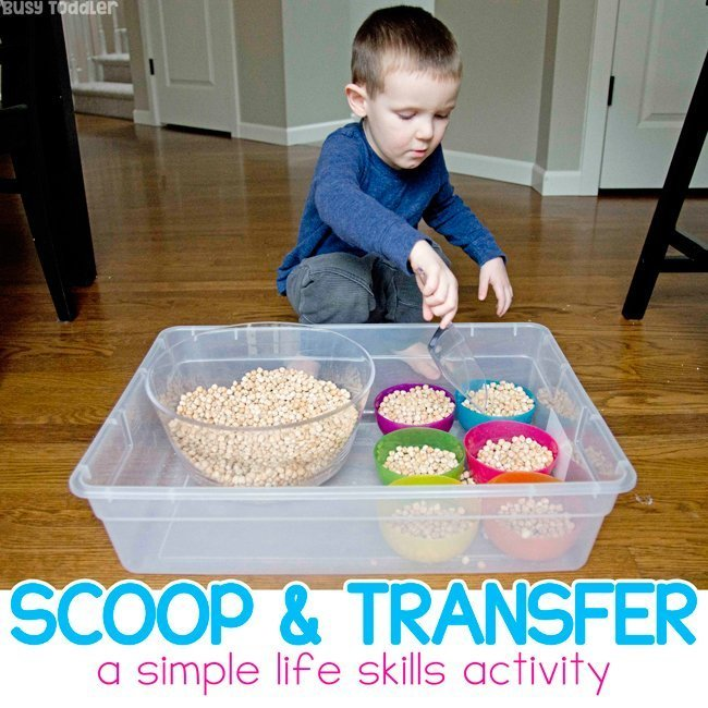 Toddler Scooping Activity with Garbanzo Beans