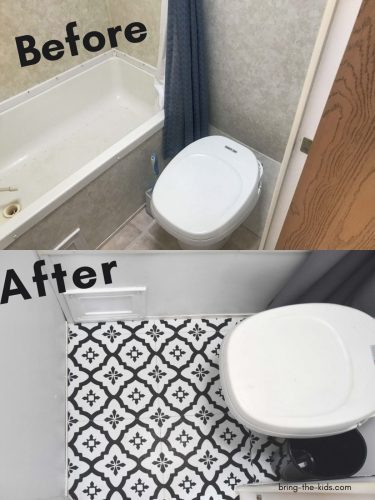peel and stick floor tiles in RV bathroom