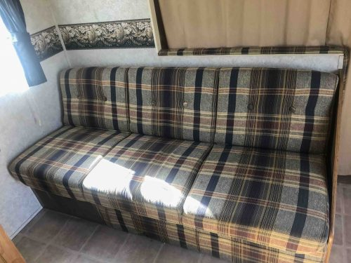 ugly plaid RV couch