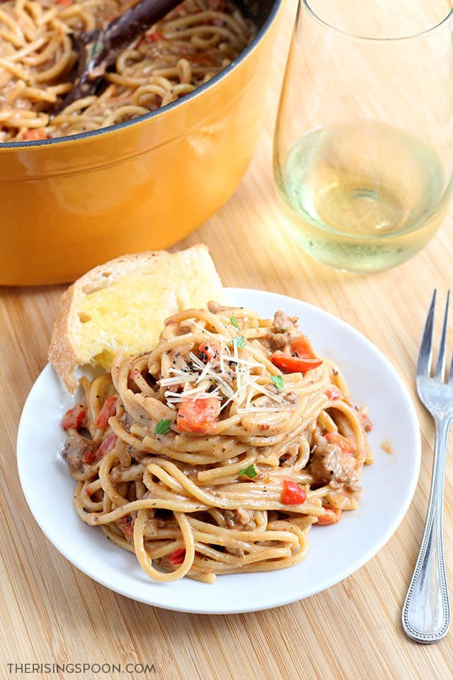 Creamy One-Pot Spaghetti with Italian Sausage