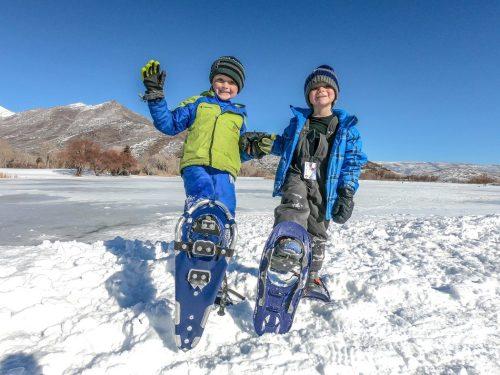 Boys snowshoeing