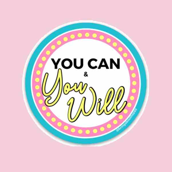 """Circular sticker with the """"You Can & You Will"""" written on it with two outer circles one pink and one blue"""