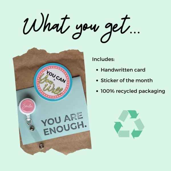 Image says What you get, includes: handwritten card, sticker of the month, and 100% recycled packaging