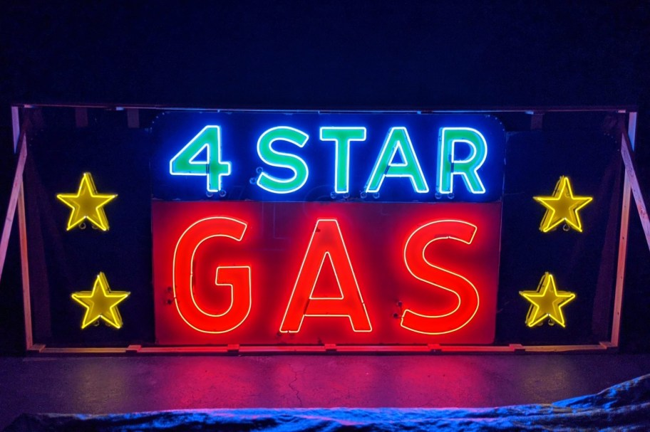 No Reserve: 15' Neon 4 Star Gas Station Sign