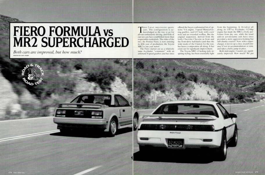 Road & Track Comparison Test: 1988 Toyota MR2 Supercharged vs. 1988 Pontiac Fiero Formula