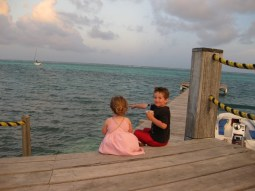 Family vacation, Belize, Sitting on Dock
