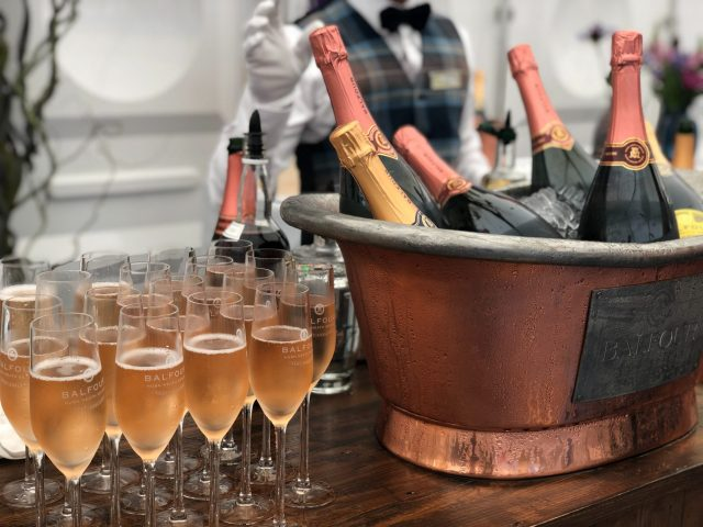 Bottles of champagne in an ice bucket with many glasses