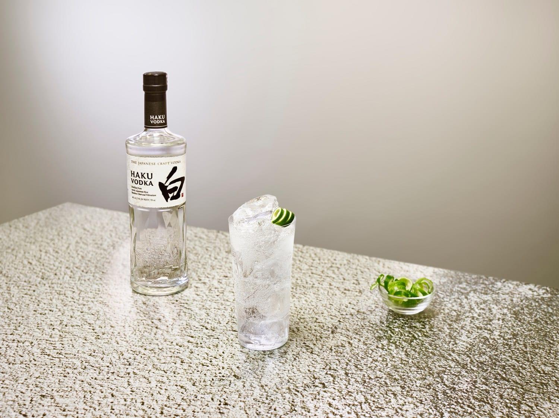 Haku Japanese Craft Vodka with a cocktail