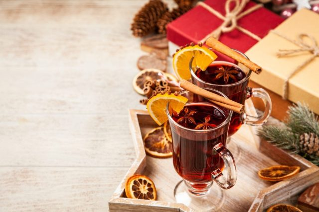 Holiday Punch Mocktails on a star tray